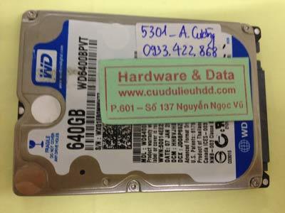Khôi phục dữ liệu ổ cứng Western 640GB