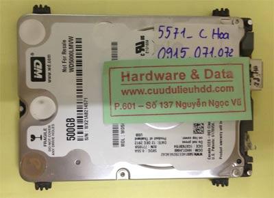 Cứu dữ liệu ổ cứng Western 500GB đầu từ lỗi