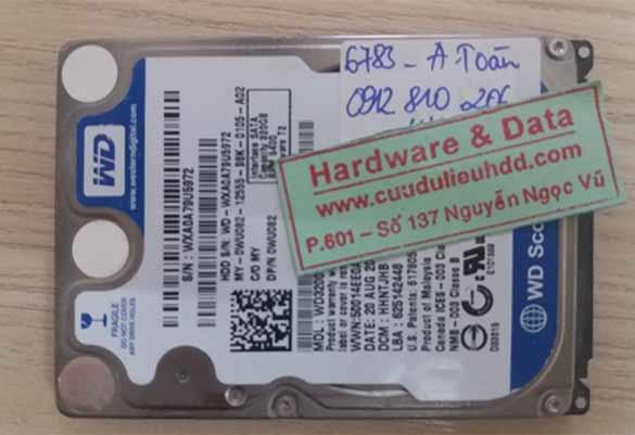 6783 ổ cứng Western 320GB bị hỏng đầu từ